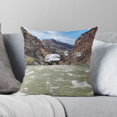Grand Canyon Rafting Splash image on Throw Pillows