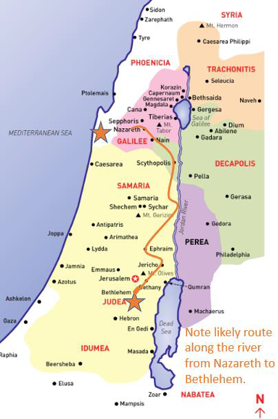 First century regional map of the trip from Bethlehem to Nazareth